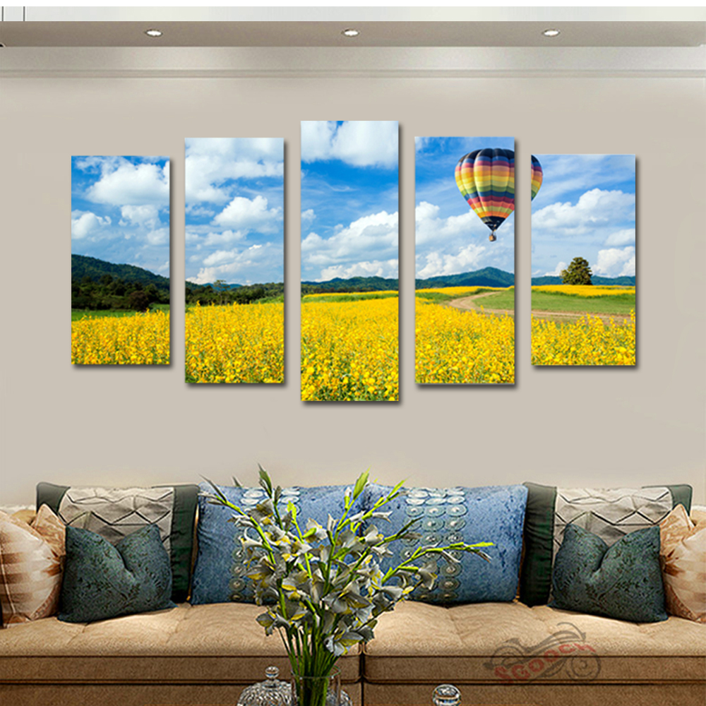 Unframed 5 panel HD Canvas Wall Art Giclee Painting Flower Hot Air Balloon Landscape For Living Room Home Decor Free Shipping