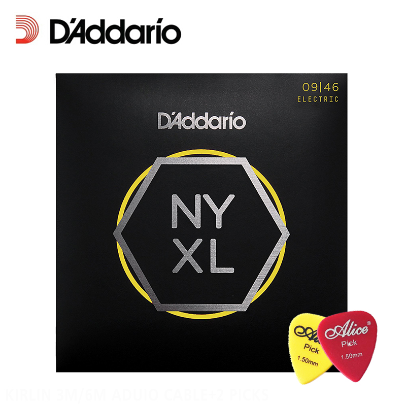 D'Addario Daddario NYXL 0946 Nickel Wound Electric Guitar Strings, Super Light Top / Regular Bottom, 9-46 (With 2pcs picks) d addario daddario exl110 american made nickel wound electric guitar strings regular light 10 46
