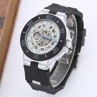 Relogio Masculino GOER Luxury Watches Men High Quality Silicone Strap Skeleton Automatic Mechanical Watches Men Designer Watches