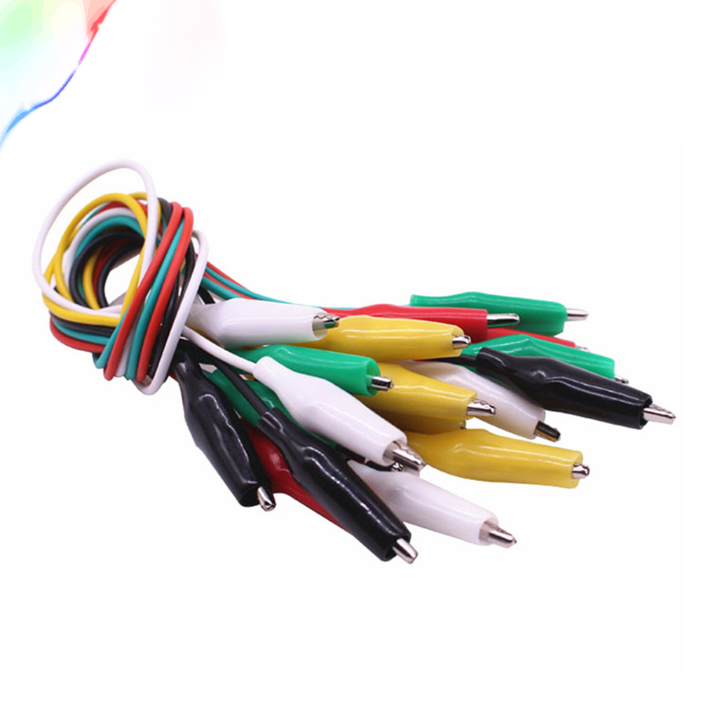 10pcs //lot Double-ended Test Leads Alligator Crocodile Roach Clip Jumper Wire RD