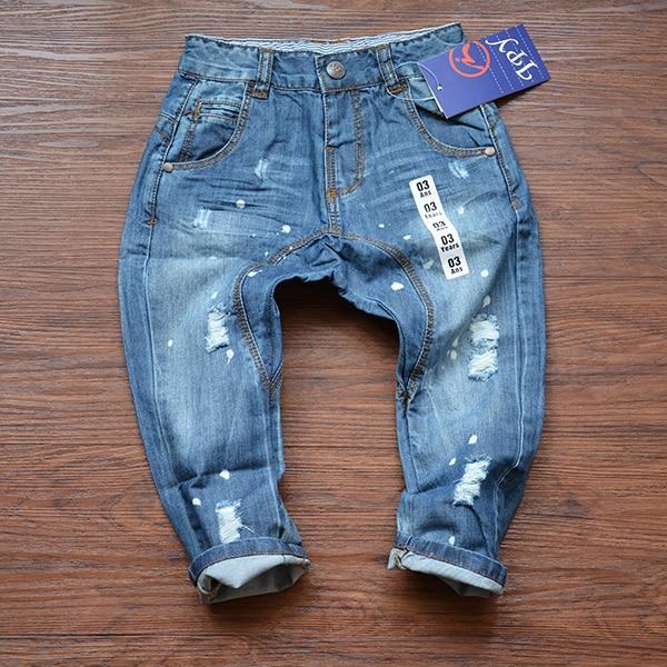 2015 vêtements de nouveaux enfants Jeans boy fille Denim sarouel bébé  garçons filles peinture trou Jeans