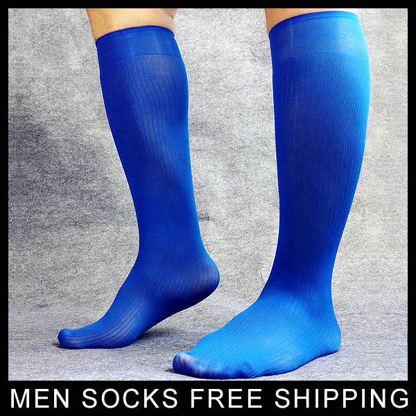Knee High Blue Mens Nylon Socks Formal Dress suit Gay Male Sexy Stocking Hose For Man quality brand