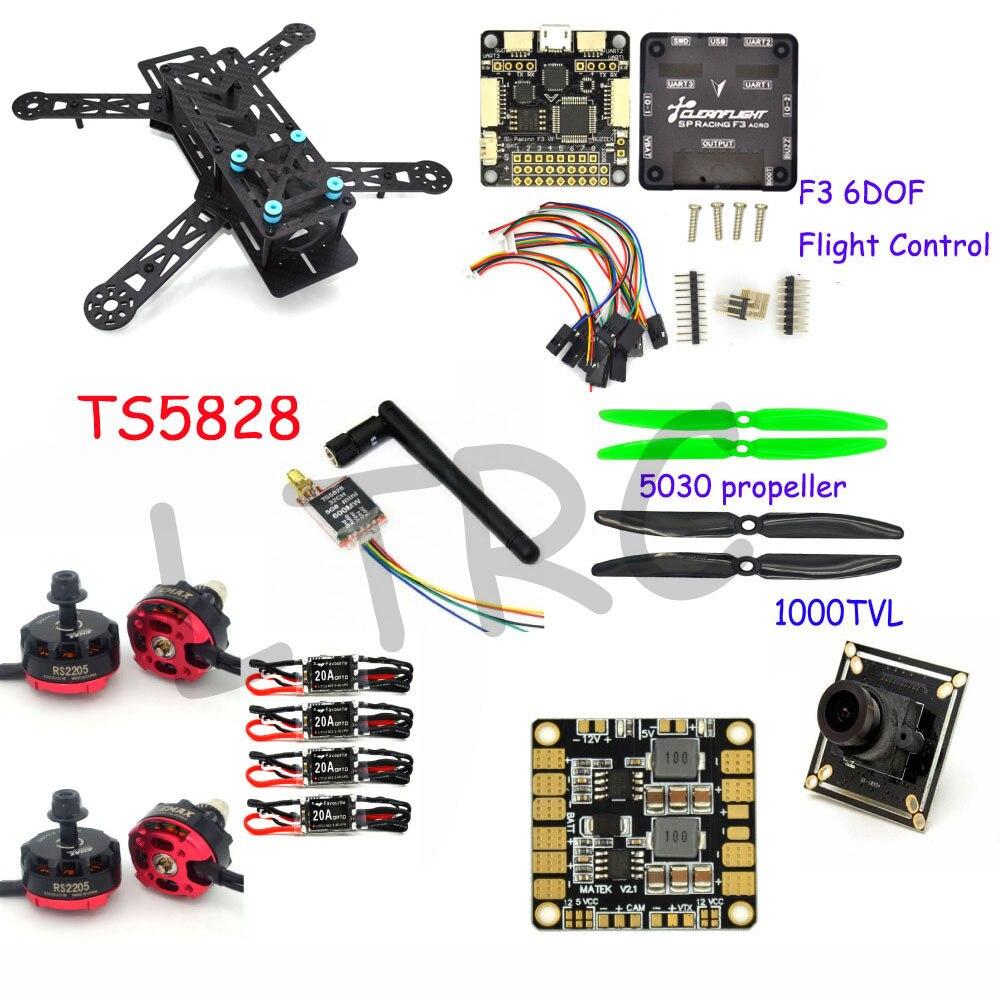 Rc самолет Средняя скорость мочеиспускания 250 Pro углерода Волокно Мини Quadcopter Рамки Drone с камерой F3 Игровые джойстики Emax FPV rs2205 2300kv