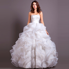 2015 Real Image Stunning And Elegant Ruffle Ball Gown Wedding Dresses Bridal Gown Strapless Lace Applique Lace Up Back