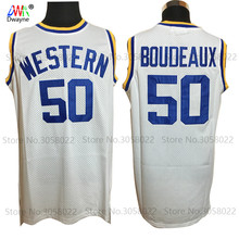 2017 Dwayne NO. 50 Boudeaux Jersey Mens Basketball Jerseys Western University White Stitched Basketball Shirts maillot de basket