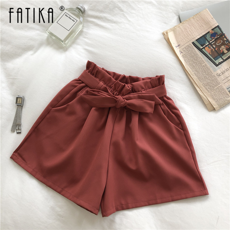 FATIKA 2019 Summer New Women's Fashion High Waist Solid   Shorts   Sashes Casual Loose   Shorts   Trousers for Women