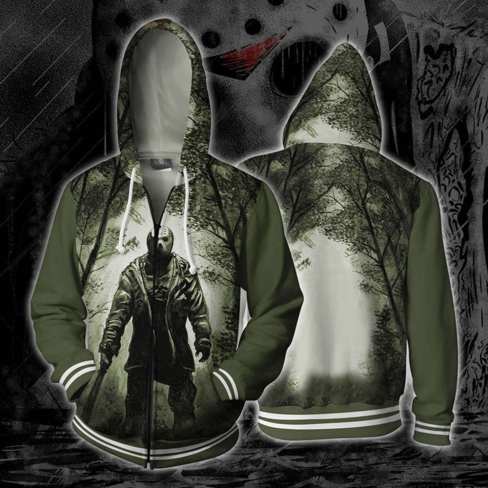 Friday the 13th Bill Cosplay Costumes Friday the 13th Hoodies 3D Print Hoodie Mens Women Animation cartoon Hoodies Jackets