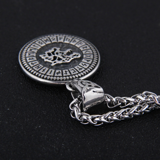 STAINLESS STEEL VIKING NORSE RUNE ROUND NECKLACE