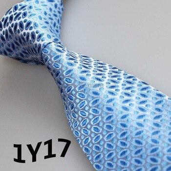 2018 corbatas lazo azul claro azul plata diseño geométrico Blanco clásico  Lazo y lazo para hombre y gravata masculina señores corbata 05a8226c764f