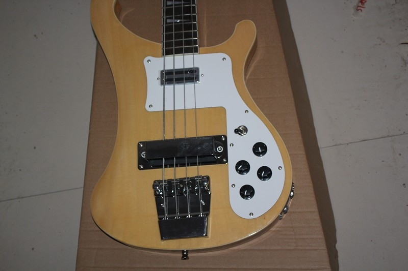 China guitar factory custom High Quality New RICK 4 string natural wood color Ricken 4003 bass with the dual input 1027