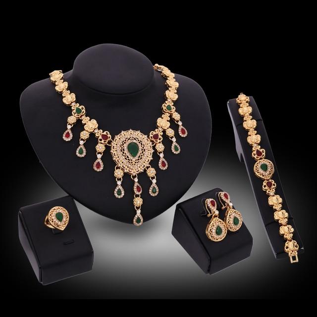 Thời trang Dubai Vàng Màu Đỏ/Green Gem Pha Lê Trang Sức Set Wedding Nigeria Beads Phi Bông Tai Vòng Cổ Bracelet Vòng