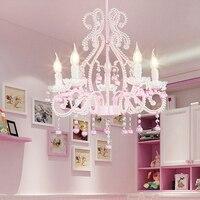 Детская комната Спальня Кристалл Современные светодиодные лампы хрустальные люстры столовая люстры розовые принцесса люстра лампа