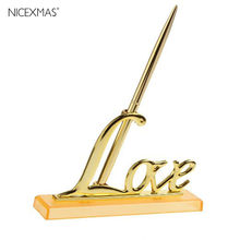 Bolígrafo dorado para firmar, soporte de señal, decoración mesa boda, suministros para fiesta
