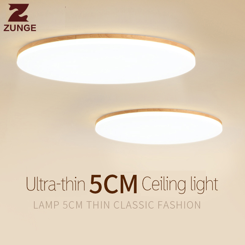 ZUNGE ceiling light LED nordic bedroom lamp simple modern wood solid wood style living room restaurant P701