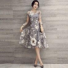 Queenus Women New Organza Expansion Dress Three-Quarter Sleeve O-Neck Floral Print High-Waist Dress 2018 Summer Elegant Dress