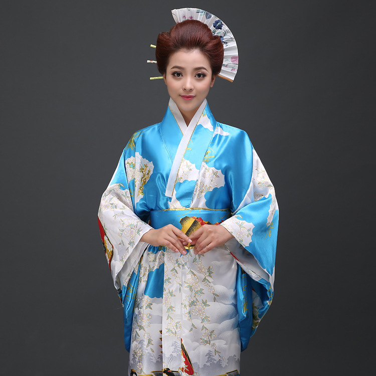 Perempuan Jepun Tradisional Pakaian Wanita Yukata Kostum Satin Kimono - Pakaian kebangsaan - Foto 2