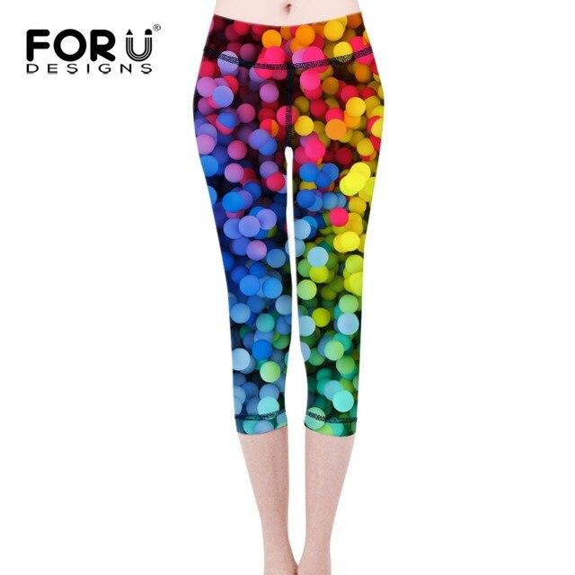 FORUDESIGNS 3D Rainbow Prints Women Leggings Active Slim Elastic Girls Push up Legging Colorful ladies Leggins Harajuku Pants