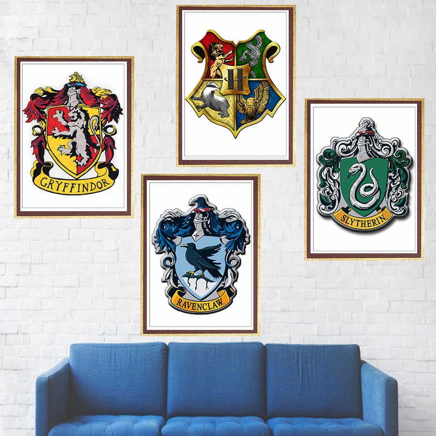 Harry Potter Wall Stickers Gryffindor Ravenclaw Hufflepuff Slytherin Poster 4 Magic College Wallpaper