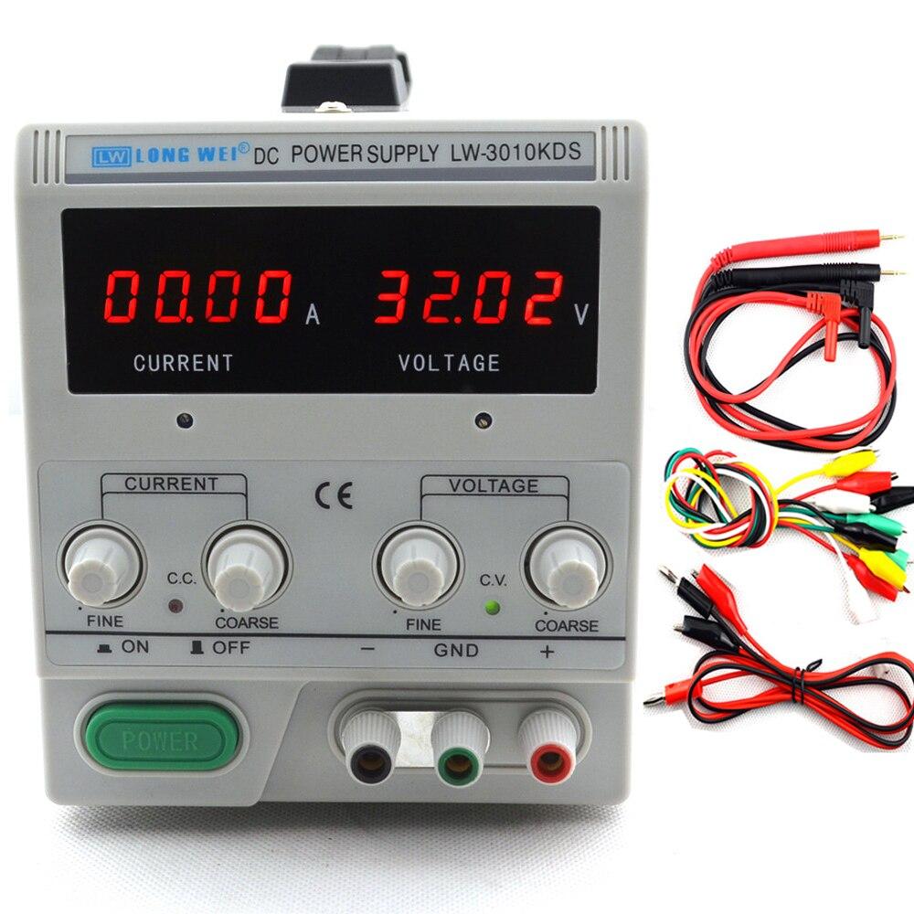 Affichage 4 chiffres 3010KDS 0-30 V/0-10A 220 v 0.01 V/0.01A LED commutateur réglable numérique alimentation cc mA protection multifonction