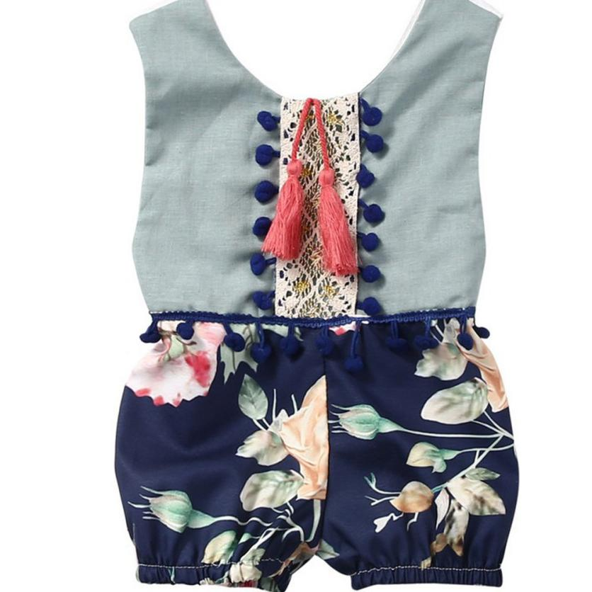 Hot sale baby girl boy clothes baby bodysuit baby clothes summer cute Sleeveless Jumpsuit Floral Clothes Outfits fashion bebes