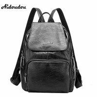 AIDOUDOU 2017 New Backpacks Fashion Genuine Leather Women Backpack Designer Travel School Bags Mochila Feminina