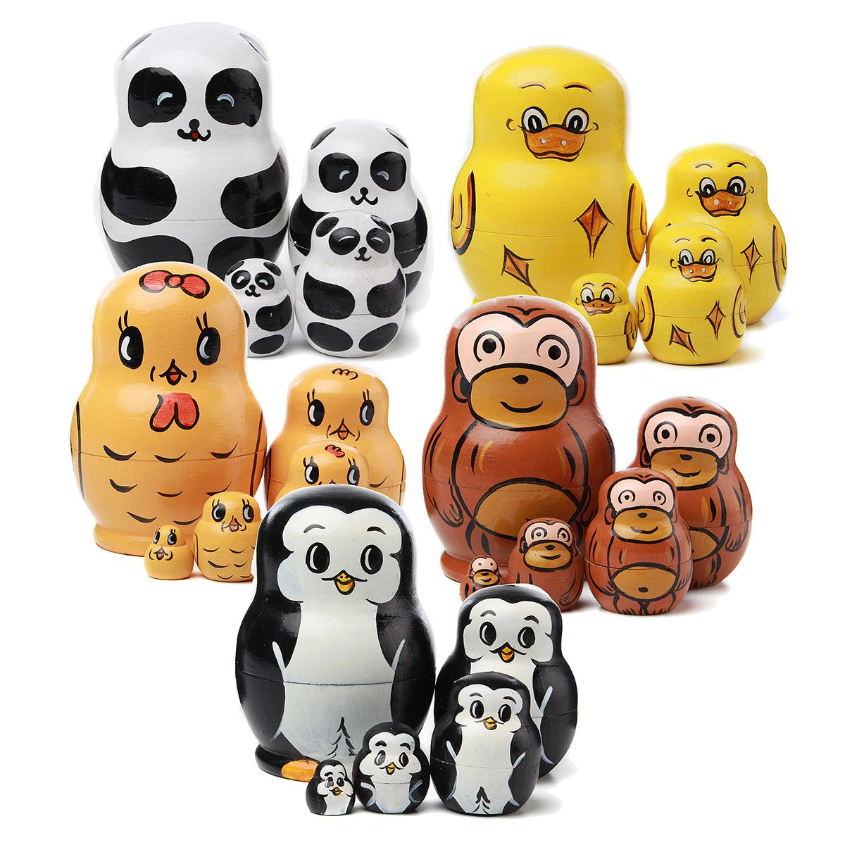 Gift Dolls Toys-Decoration Nesting Panda-Hand Painted Cute Wood Russian Adult Children