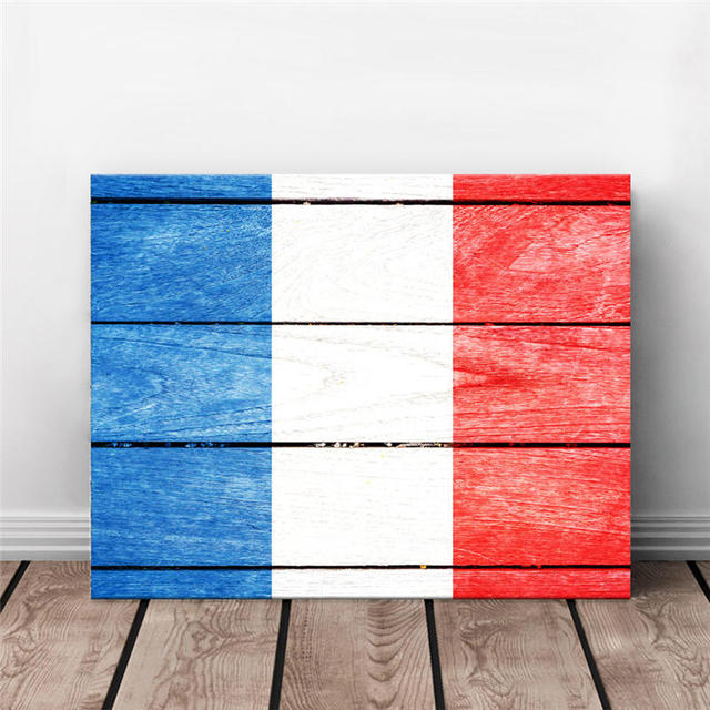 Home Decor Wall Decorative Painting France National Flag Fake Wood Background Built In Frame Hanging Canvas Printing