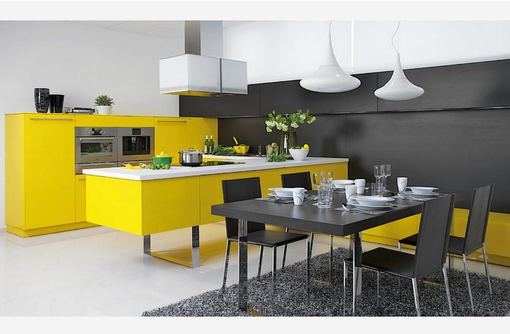 €1652.4 |2017 nouveau design contemporain armoires de cuisine couleur  blanche moderne haute brillance laque meubles de cuisine L1606047-in Pièces  et ...