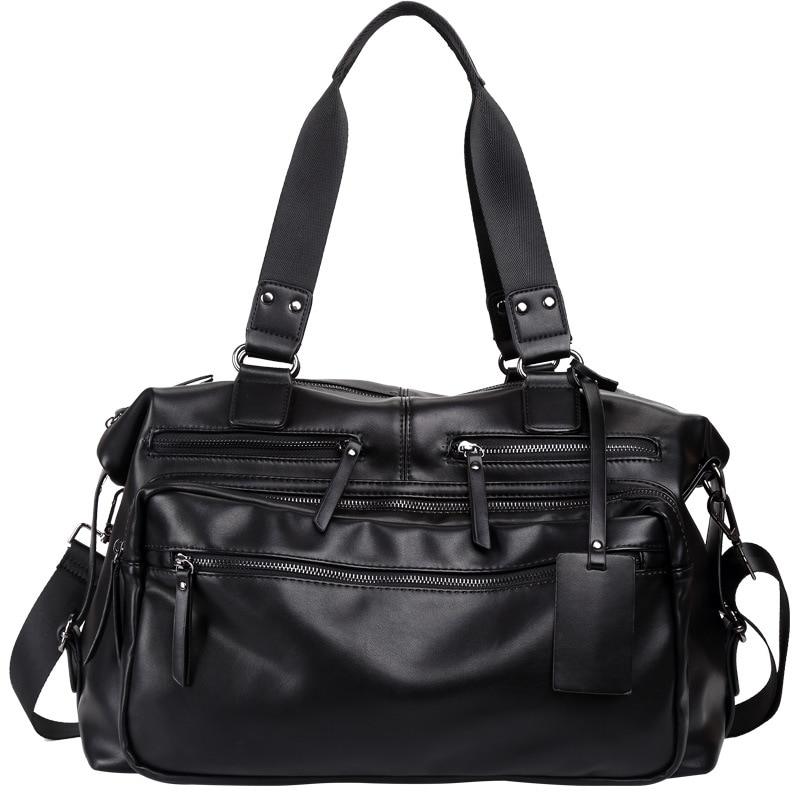 New Trend PU Leather Travel Bag Men Messenger Bag Large Capacity Short-distance Travel Bag Mens Bag Suitable for Business trip