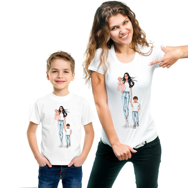 2019 Mom's Printing Casual Mom Baby Girl Family Matching T-Shirt Outfit Mom And Son Matching Clothes