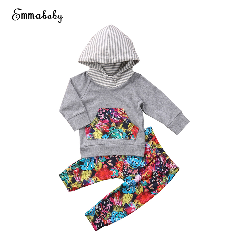 Baby Clothing Set Autumn Winter Toddler Baby Girl Top Floral Hoodie Pants 2017 New Hot Sale Outfits 2Pcs Bebes ClothesSet 0-24M