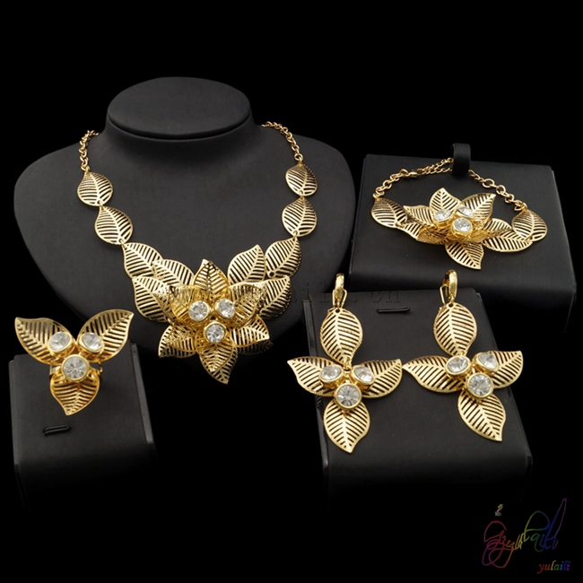 Yulaili Dubai Pure Gold Color Jewelry Sets Fashion Gold Flower Necklace Set Elegant DesignsYulaili Dubai Pure Gold Color Jewelry Sets Fashion Gold Flower Necklace Set Elegant Designs
