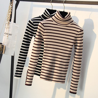 Striped Sweater Women 2018 Autumn Winter New Full Sleeve High Neck Sweater Womens Casula Basic Knit Pullover Female Jumper Tops