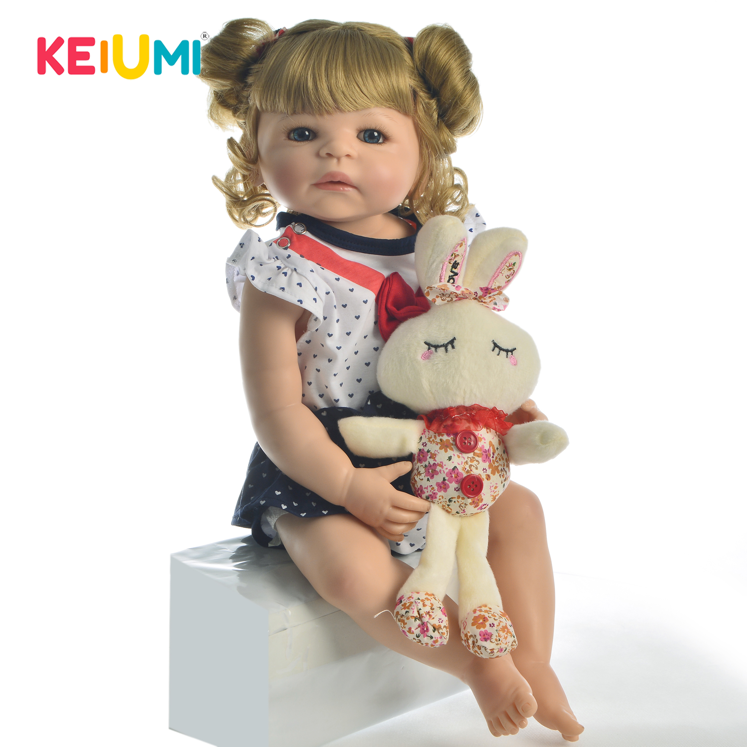 KEIUMI Hot Sale Realistic Reborn Doll Full Silicone 55 cm Real Looking Fake Baby Toy For