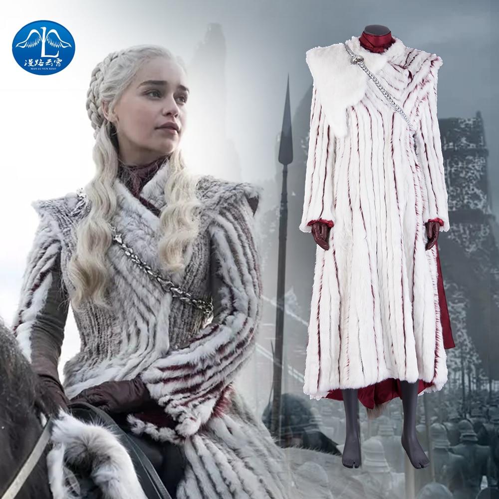 Manluyunxiao Game of Thrones Season8 Costume d'halloween Daenerys Targaryen définit les robes de cape de femmes