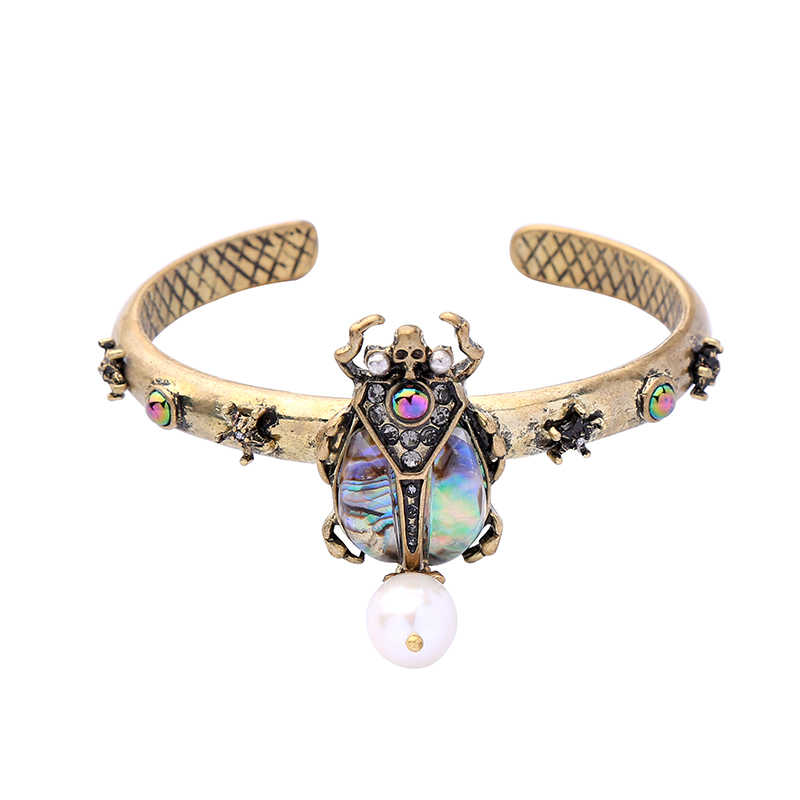 KISS ME Women Freshwater Pearl Bracelets Bangles 2019 Fashion Zinc Alloy Vintage Resin Beetle Open Bangle Cuff Bracelet Jewelry