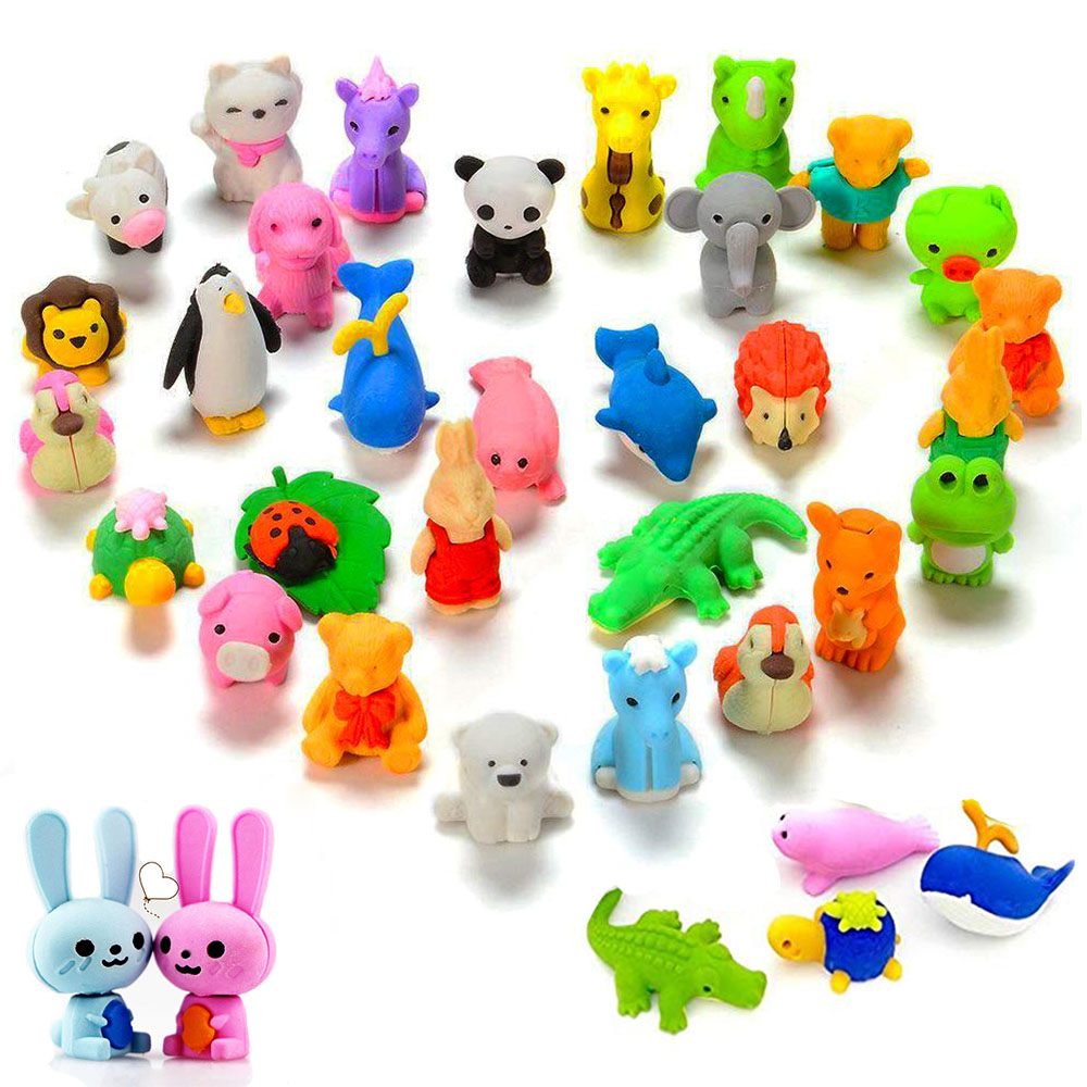 Hot Cute 3D Zoo Animal Erasers Set Removable Assembly Diy Cartoon Eraser Toys Kids Children Student Prize Gift School Supplies