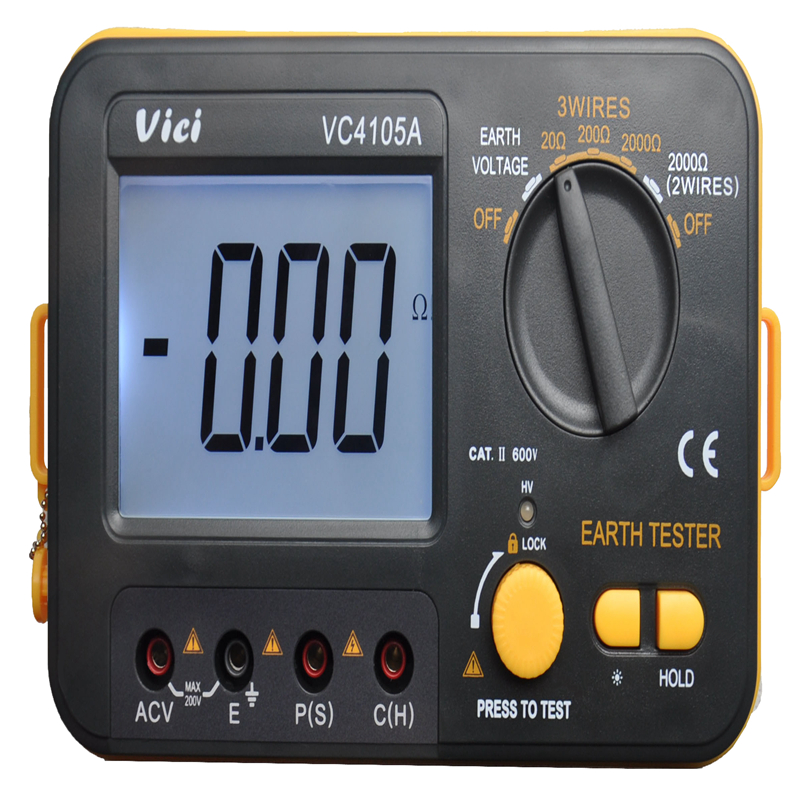 VICI Digital LCD Earth Resistance Tester Ground Resistance Voltage Meter Lightning Rod Measuring Instrument Tools VC4105A цена 2017