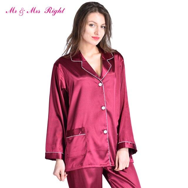 MR & MRS DIREITA Cetim Pijamas Set Robe Moda Dormir desgaste Camisola Feminina de Seda Longo Com Decote Em V Tamanho Do Presente do Dia Dos Namorados pijama