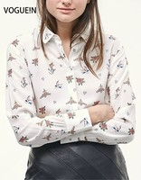 VOGUE N New Womens Floral Bird Print Long Sleeve Lapel Button Down Shirt Blouse Tops Wholesale