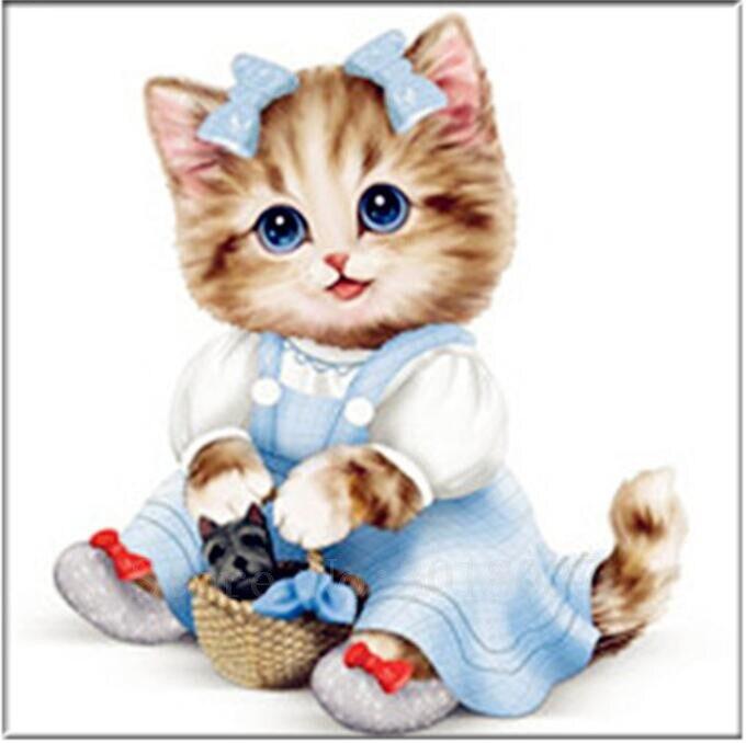Diy 5D pictură de diamant cruce cusatura pisica într-o fusta - Arte, meșteșuguri și cusut