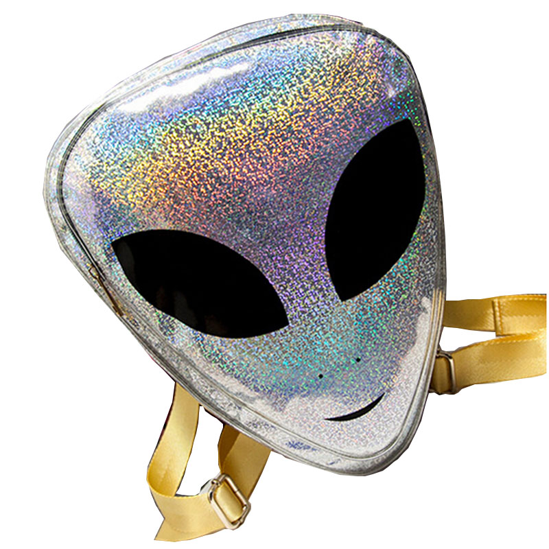 2017 Harajuku Alien Bag Funny Clear Backpack for Women Hologram Hip Hop Mochilas Transparent Laser PVC
