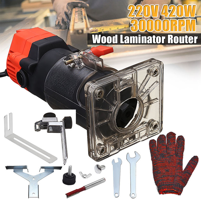 Wood Electric Hand Trimmer 220V 420W 30000r/min Collet US Plug Corded Wood Laminator Router Joiners Aluminum + Wrench GlovesWood Electric Hand Trimmer 220V 420W 30000r/min Collet US Plug Corded Wood Laminator Router Joiners Aluminum + Wrench Gloves