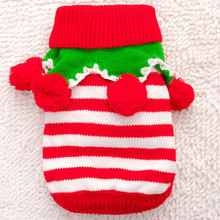 Stripe Cute Pet dog Christmas Sweater costume clothes pet santa winter jacket Puppy christmas knit for