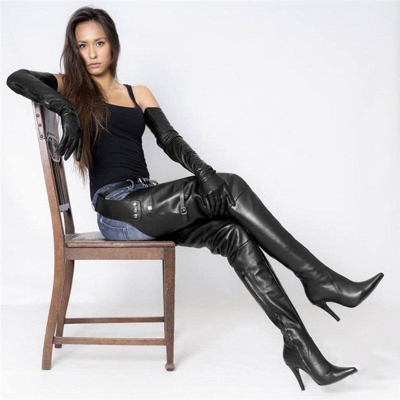 2019 nuevo tipo muslo alto botas con cinturón puntiagudos tacones altos zapatos con cremallera lateral para mujeres botas de cintura de cuero negro sobre la rodilla
