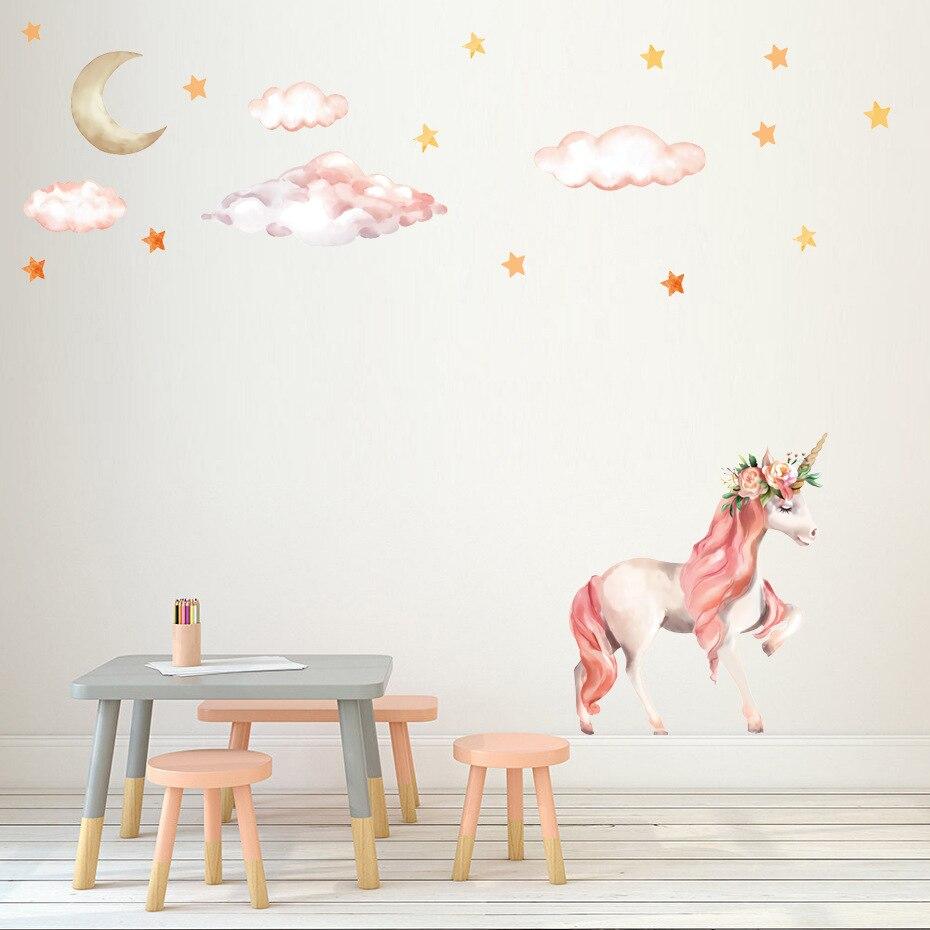 Dibujos Animados unicornio estrella pared pegatinas para niños habitaciones chicas dormitorio decoración Animal pared arte unicornio fiesta niños habitación Decoración
