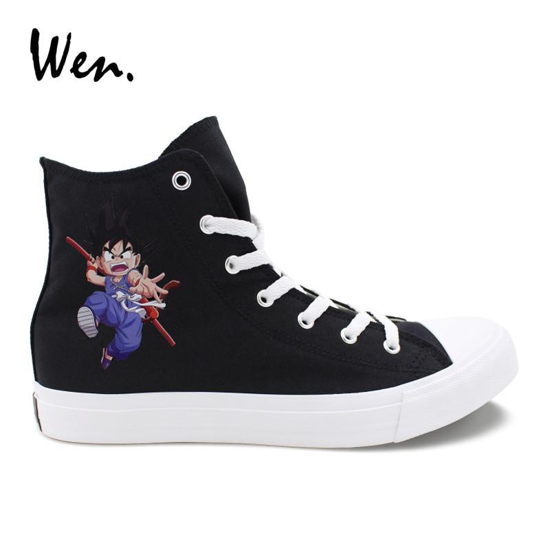 Wen Men Women Cosplay Shoes Black Canvas Sneakers Design Dragon Ball Son Goku White Vulcanize Shoes Cross Straps Plimsolls Flat