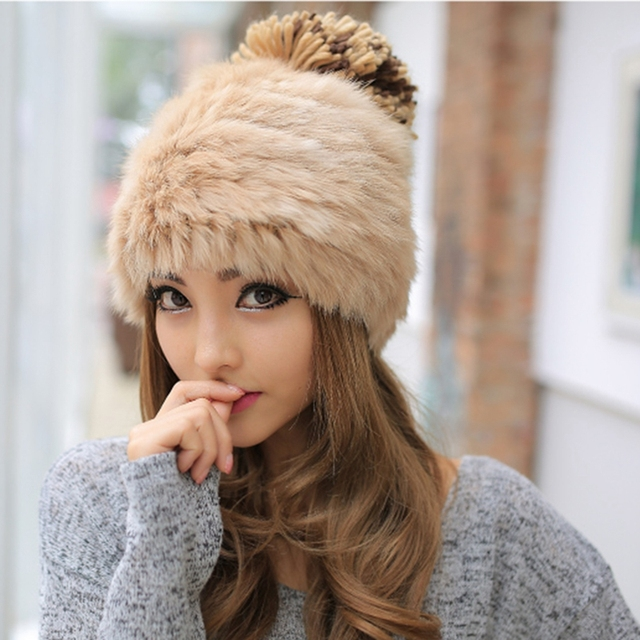 369a3a6c9 US $7.99 20% OFF|Warm Fleece Winter Caps Faux Rabbit Fur Pompom Hats For  Women 2017 Wool Knitted Ladies Skullies Beanies Pom Pom Hat Bonnet Femme-in  ...