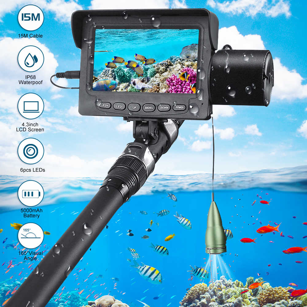 1000TVL 4.3 Inch 15M Cable Fish Finder 6pcs White / IR LED Underwater LED Night Vision Fishing Camera  LCD Monitor Fishfinder