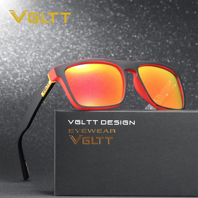 10564c25f Vgltt polarizado famosa marca diseñador hombres Gafas de Sol Espejo Sol  Gafas logo UV400 cuadrado mujeres